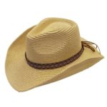 Palarie cowboy de vara cu banda decorativa