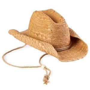 Palarie cowboy din paie cu snur si boruri modelabile bej