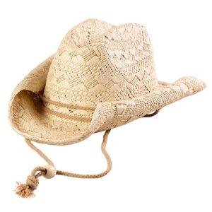 Palarie cowboy din paie cu snur si boruri modelabile crem