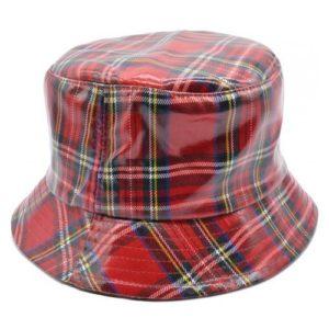 Palarie de ploaie bucket hat tartan rosie