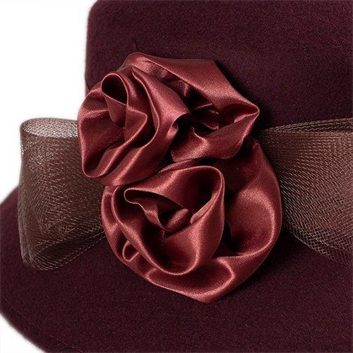 Palarie eleganta burgund inchis cu trandafiri din satin
