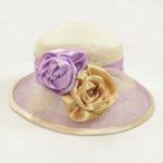 Palarie eleganta din sisal bicolora lila cu bej