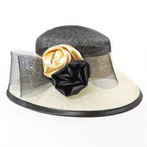 Palarie eleganta din sisal bicolora negru cu bej