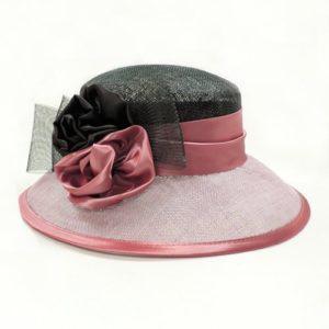 Palarie eleganta din sisal bicolora roz prafuit cu negru