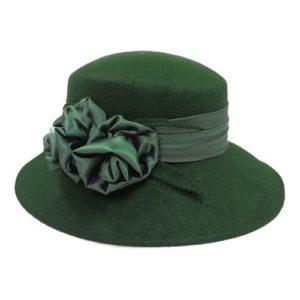 Palarie eleganta verde inchis cu trandafiri din satin