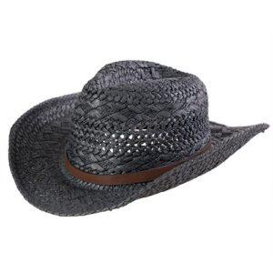 Palarie fedora cowboy neagra din paie cu banda din piele si boruri modelabile