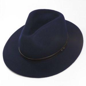 Palarie fedora tip cowboy bleumarin