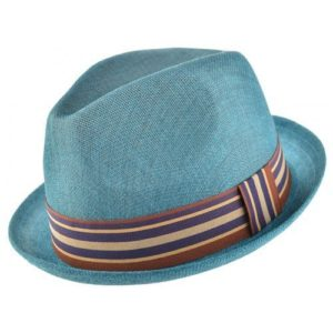 Palarie trilby din material textil albastru turcoaz cu banda colorata
