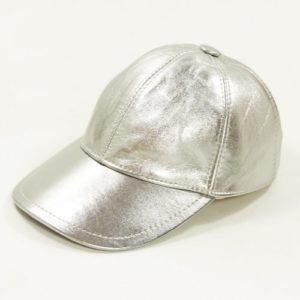 Sapca baseball din piele naturala argintie