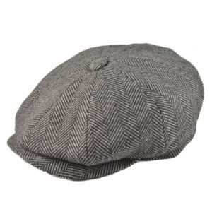 Sapca newsboy din tweed herringbone gri