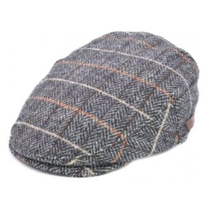 Sapca tweed herringbone in nuante de maro