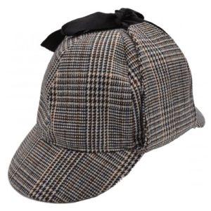 Shapca Sherlock Holmes gri din tweed