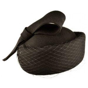 Toca pillbox tip half hat negru cu funda si voaleta