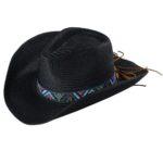 Palarie cowboy de vara neagra cu banda decorativa