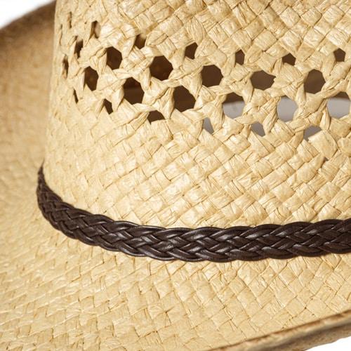 Palarie cowboy din paie pictata cu boruri modelabile