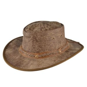 Palarie cowboy din piele naturala maro deschis cu efect de uzura