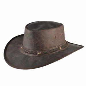 Palarie cowboy din piele naturala maro inchis cu efect de uzura