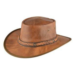 Palarie cowboy din piele naturala maro roscat