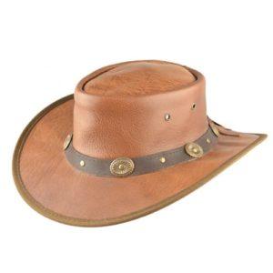Palarie cowboy din piele naturala maro roscat cu decoratiuni metalice