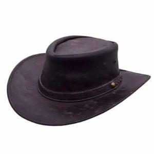 Palarie cowboy din piele naturala pliabila