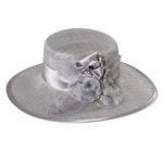 Palarie de ocazie din sisal cu bor amplu gri argintiu