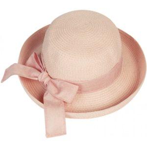 Palarie de vara roz pal cu bor rasucit