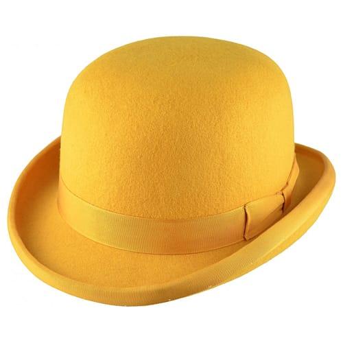 Palarie bowler hat clasic galben mustar
