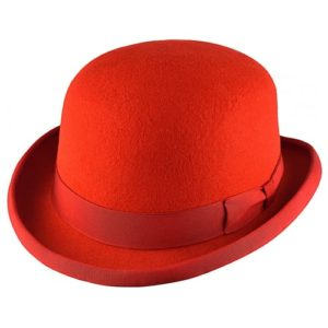 Palarie bowler hat clasic rosu