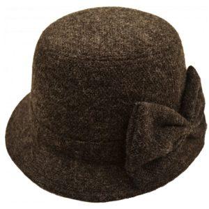 Palarie cloche neagra din lana cu aspect vintage