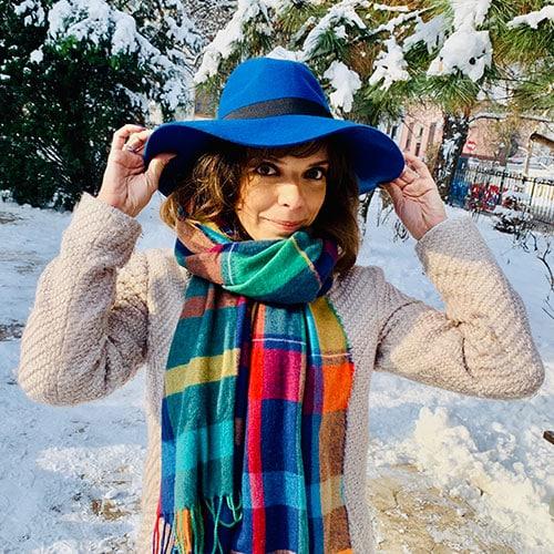 Palarie fedora albastra din fetru cu boruri largi