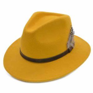 Palarie fedora tip cowboy galben mustar