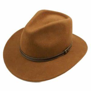 Palarie fedora tip cowboy maro deschis