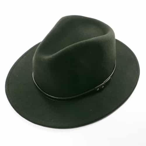 Palarie fedora tip cowboy verde inchis