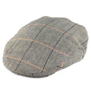 Sapca englezeasca plata din tweed gri inchis spic