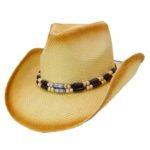 Palarie cowboy din paie pictata cu boruri modelabile si margele