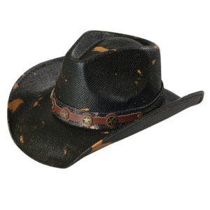 Palarie cowboy texana apretata neagra