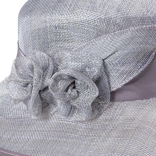 Palarie eleganta din sisal gri argintiu